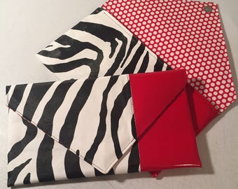 Color-blocked Faux Zebra Print -vs- Red Patent Leather Envelope Style Clutch