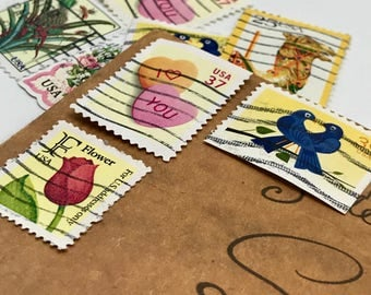 9 used vintage Colorful Rainbow Flowers vintage postage stamps | Perfect for scrapbooking, stamp collecting, snail mail art, and crafting