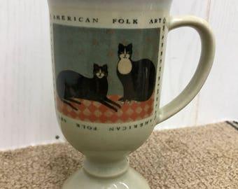 OTAGIRI Pedestal Mug American Folk Cats Black Cats Ceramic Coffee Cup Warren Kimble