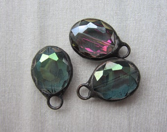 Hand Soldered Medium Crystal Oval in Pink and Green