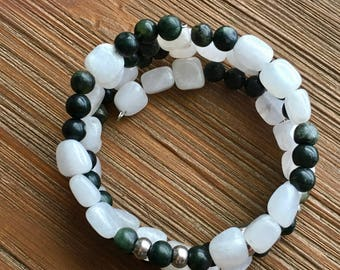 Mossy Meditation Memory Wire Bracelet - White Jade, Serpentine, Sterling Silver
