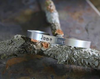 June Bug- Hand Stamped bracelet