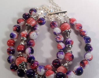 Three Strand Purple and Pink Beaded Bracelet with Silver Clasp
