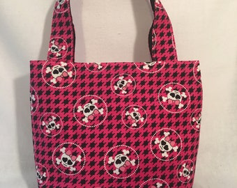 Small girly punk rock houndstooth tote