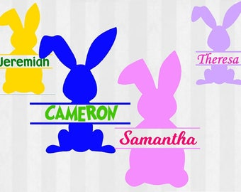 Split Bunny frame SVG, Easter svg, monogram frame, svg files for silhouette cameo, cricut explore, split frame, split monogram frame