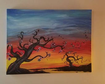 Cherry blossoms in the fall 28x36