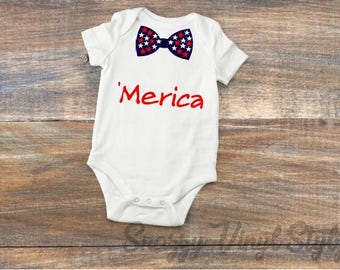 4th of July Baby Boy Outfit-Fourth of July Baby Body Suit-Merica Onesie-Patriotic Bow Tie Baby Outfit-Hipster Baby Clothes-Merica Shirt