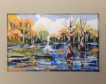River Styx Painting Cypress Trees River View Linda Blondheim Art Water Scene