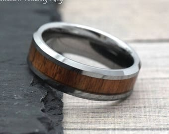 8mm Mens Wood Wedding Tungsten, Tungsten Promise Ring For Him, Wedding Ring  With Engraving