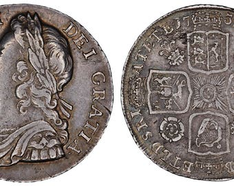1735 George II shilling silver coin of Great Britain