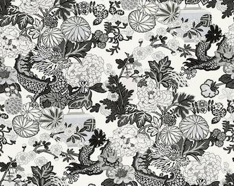 Schumacher Chiang Mai Dragon Linen Fabric Smoke Priced per meter
