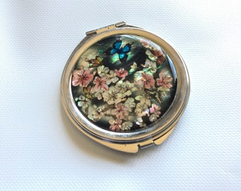 Butterfly and Flower Pocket Mirror