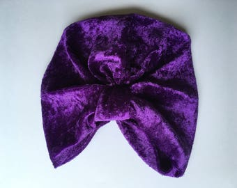 Purple crushed velvet turban age 2 to 4 years