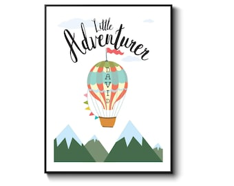 Hot air balloon, nursery print, nursery decor, baby shower gift, gift for baby, personalised gift, gift for baby, little adventurer