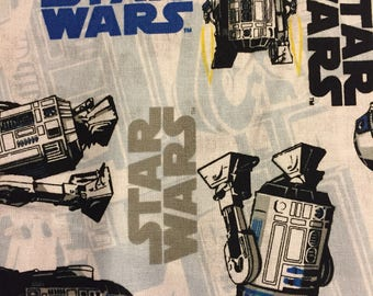 R2D2 Star Wars Cotton Fabric by the Yard or 1/2 Yard