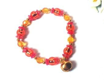 Bracelet Orange - Orange Beaded Bracelet - Colorful Ornament - Pendant Bell - Summer Bracelet - Festival - Gift - Gift for her - Jewelry