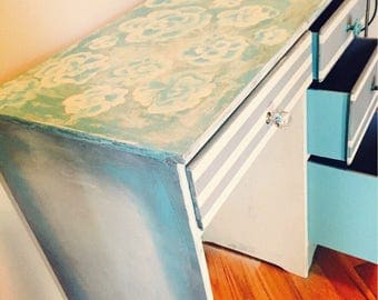 Vintage  Desk / Vanity Powder Blue Handpainted Roses Custom Pulls -Refinished Shabby Chic