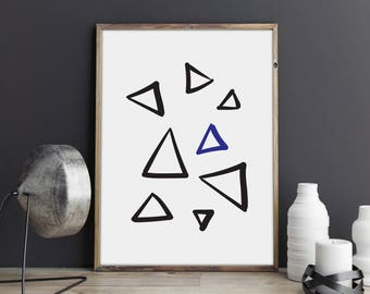 Triangle Print, Hand Drawn, Custom Print, Gallery Wall, Nursery Decor, Bedroom Decor, Wall Art, Kids Room Decor, Modern Print, Scandinavian