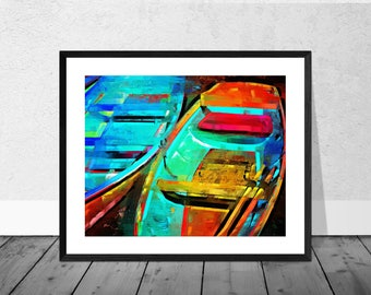 Henley Art Print, Henley on Thames Art, Red and Blue Boats, Boat Art, Home Décor, Giclee Print, Rowing Art, Rowing Boats