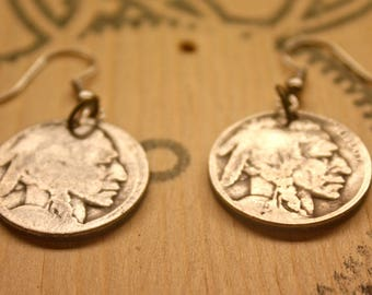 Antique Indian Head/Buffalo nickel earrings. Old vintage coin jewelry.
