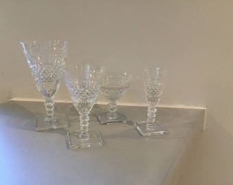 4 Hawkes cut glass vintage glasses
