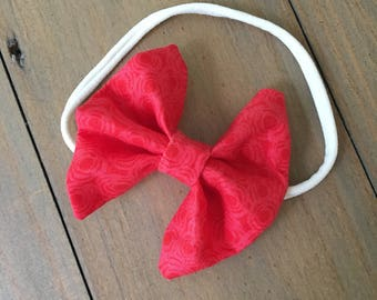3 inch red patterned bow headband