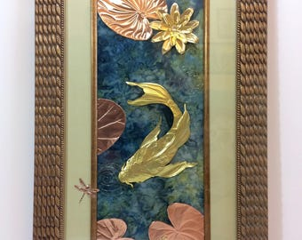 Water Lily Pond - Embossed Metal 3D Sculpted Wall Hanging