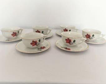 set cups 50s porcelain mill of the Wolf