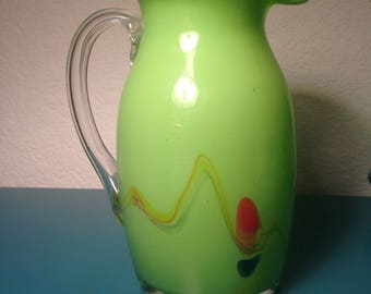 Hand blown lime green glass pitcher