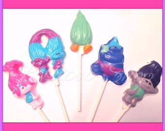 12 Trolls Chocolate lollipops (Birthday, Trolls party favors, Chocolate)