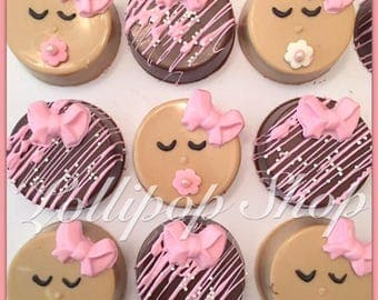 12 Babygirl baby shower Chocolate covered oreos (Baby shower favors, babygirl favors, baby shower chocolate)
