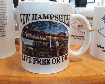 New Hampshire Covered Bridge  Blair Bridge Coffee Mug, Frosted Mug, Mason Jar