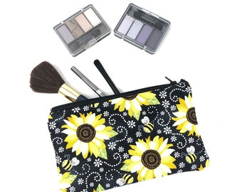Sunflower Cosmetic Bag, Makeup Brush Holder, Suicide Awareness, Makeup Bag, Pencil Case, Makeup Organizer, Spring, Bee, Zipper Pouch,