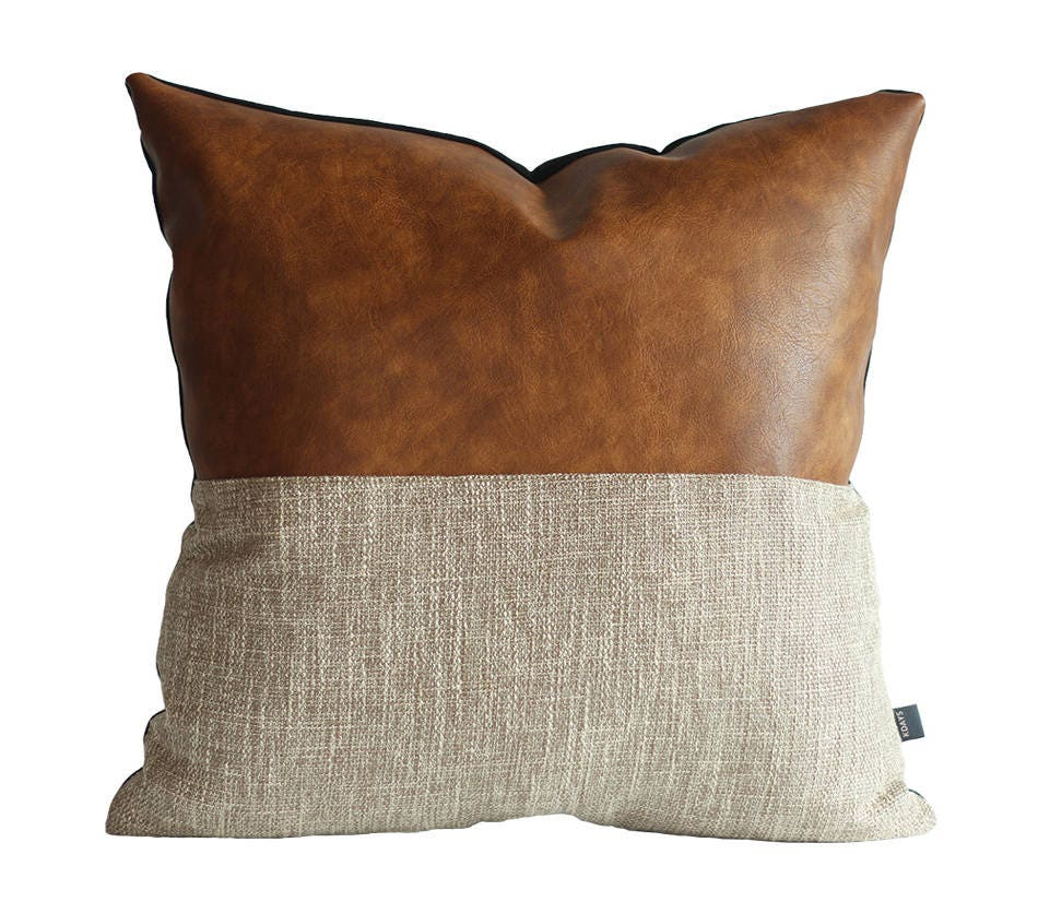 Decorative Pillows Leather : Designer Faux Leather Pillow Cover Kdays Halftan Pillow Cover