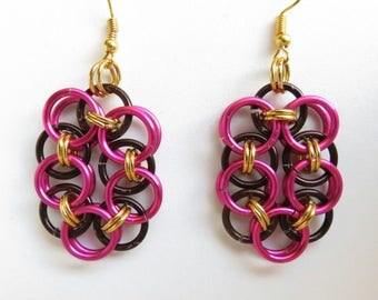 Oval Jump Ring Dangle Earrings