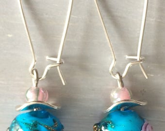 Brilliant turquoise glass earrings