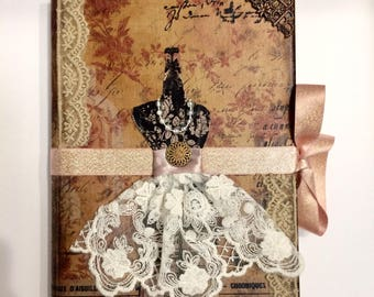 Handmade Journal / Diary / Scrapbook / vintage / Shabby Chic / Steampunk / Victorian gifts for seamstress gifts for her gifts for mom