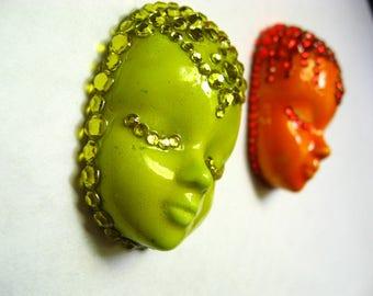 Fridge magnet set of 2, magnet face, Refrigerator magnets Buddhist motifs neodymium magnet
