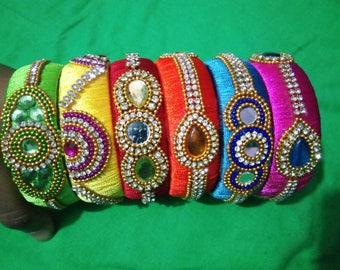 Handmade silk thread bangles combo pack.