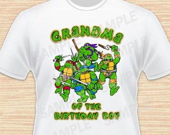 Teenage Mutant Ninja Turtles Iron On Transfer. TMNT Grandma of the Birthday Boy Iron On. Ninja Turtles Birthday Shirt. Download Printable 1