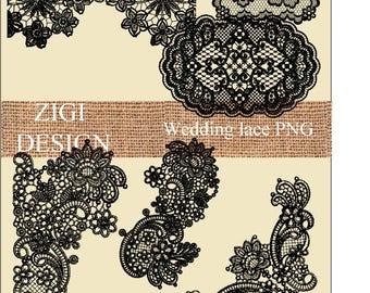 Lace clipart / lace overlay / lace clip art / fashion clipart / lace border / png files / transparent background / digital lace / clipart