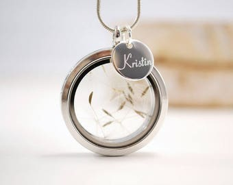 Locket necklace ~ flower ~ engraving ~ silver
