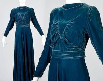 SALE 1930s Blue Velvet Evening Gown Full Length Formal Dress Long Sleeve Maxi Dress Vintage 30s Art Deco Old Hollywood Glamour