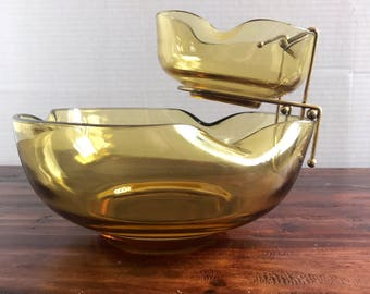 Vintage Mid Century Yellow Anchor Hocking Two Tiered Chip and Dip Bowls | Hostess gift | Serving Bowls | MCM Kitchen