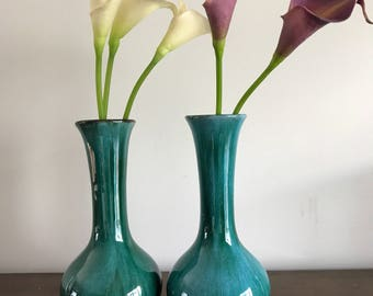 Pair of Vintage Mid Century Blue Mountain Pottery Vases | Traditional Green Glaze | BMP Vase | Mid Century Vintage Decor | home decor