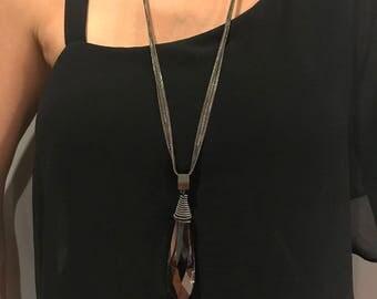 Women Teardropl Crystal Long Sweater Chain Necklace Pendant Jewelry