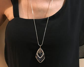 Blue Triple Stack Sparkly Black Crystal Long Sweater Chain Pendant Necklace