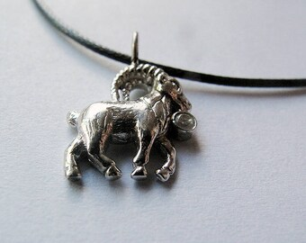 Chinese Zodiac - Year of the Goat,Silver 925,Leather Nacklace,Horoscope Nacklace,Zodiac Jewelry