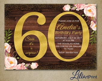 60th Birthday Invitation, Gold Invitation,  Gold Glitter Birthday invite, Floral Birthday Invitation, Rustic invite, Digital file 43