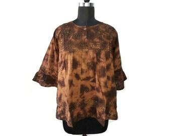 Brown  tie-dye Tribal blouse top